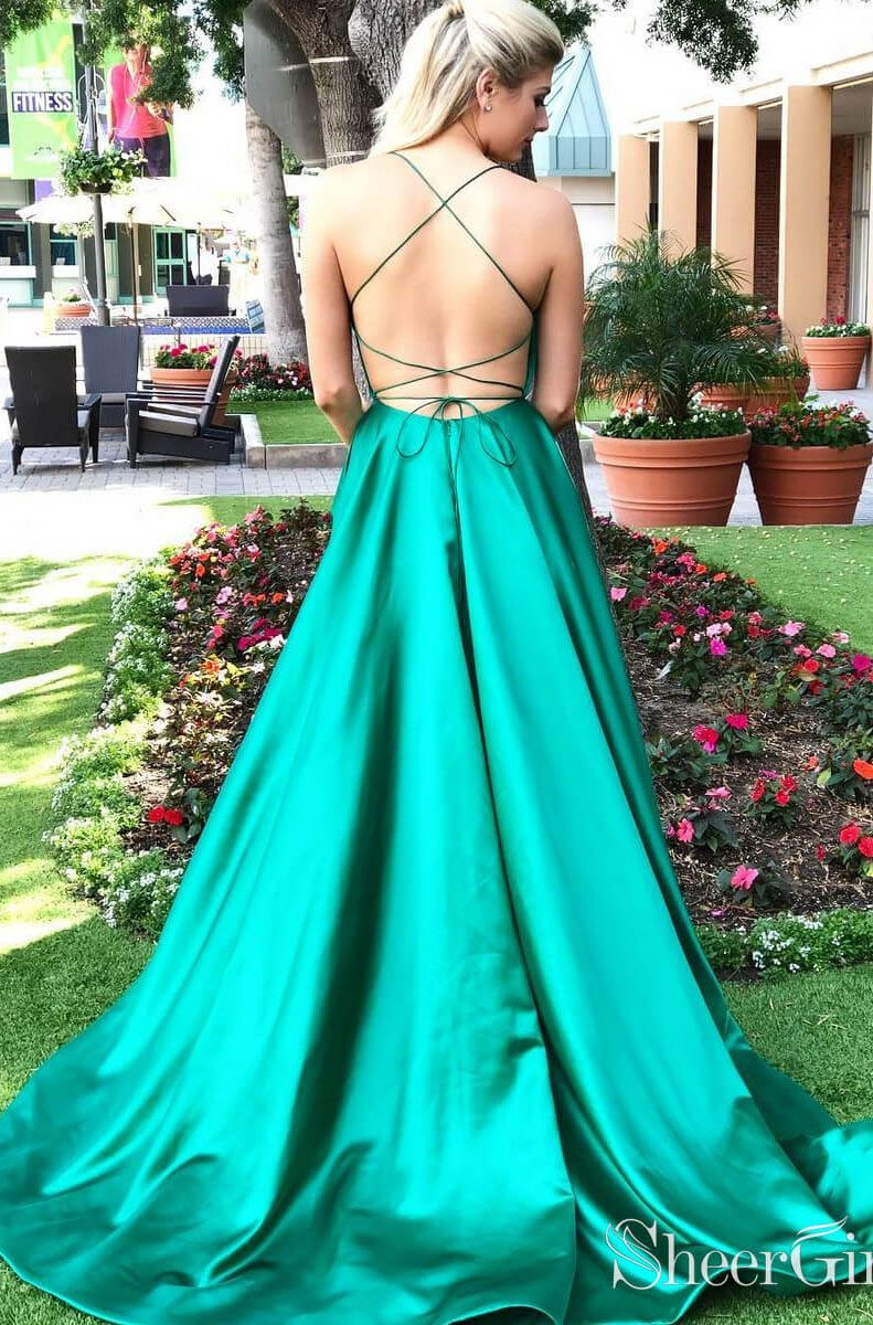 21a880d47c8 Long Cheap Simple Prom Dress Side Slit Pocket Spaghetti Strap Prom ...