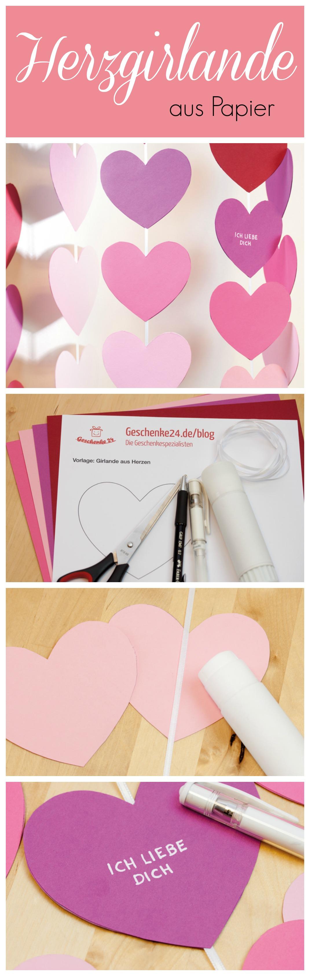 Herz Girlande für den Valentinstag basteln | Hochzeit | Pinterest ...