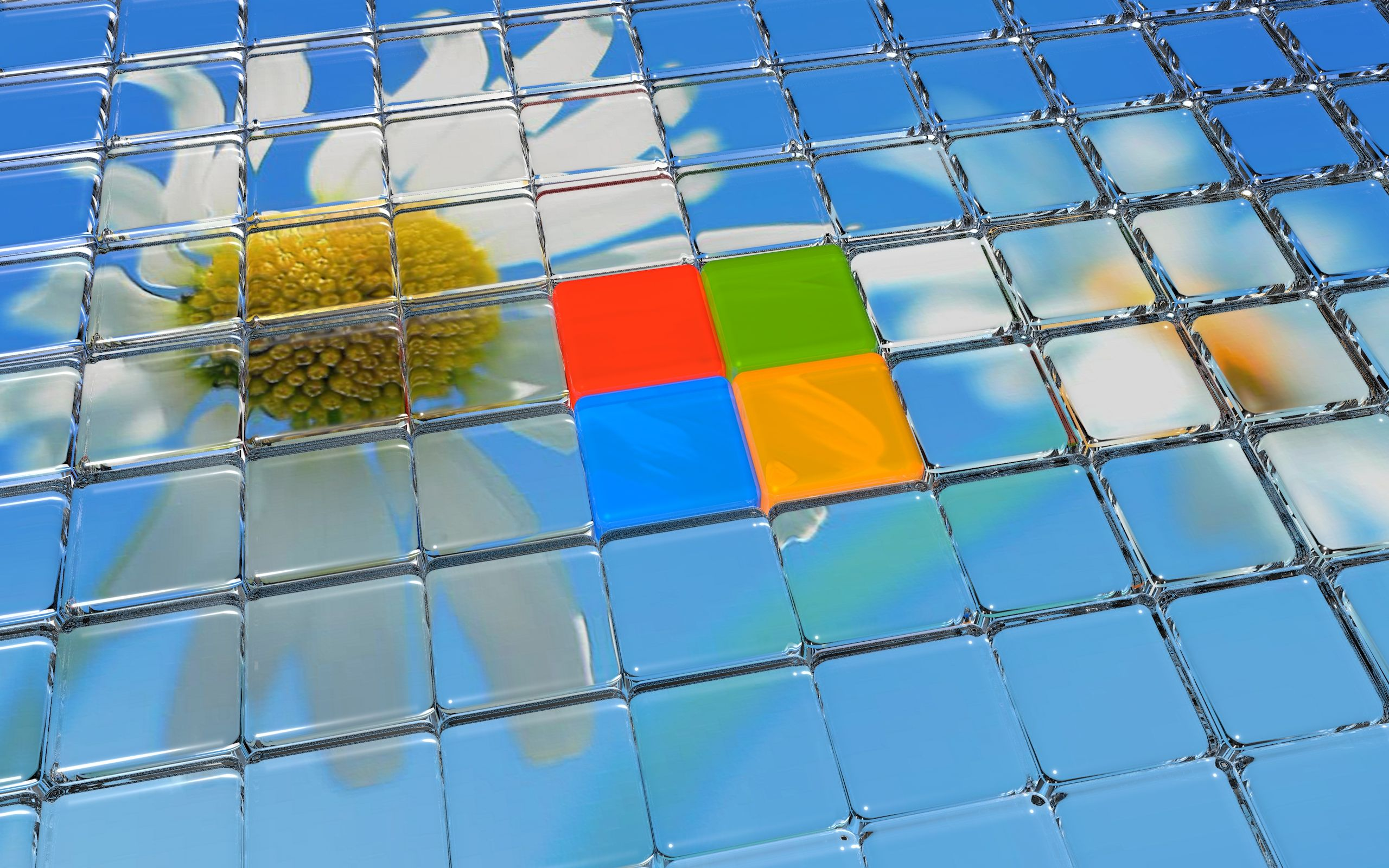 flower and windows 8 logo in glass 3d wallpaper free | places to