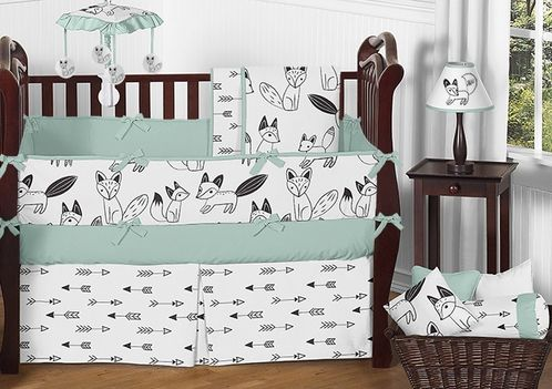 Best Mint Black And White Fox And Arrow Baby Bedding 9Pc 400 x 300
