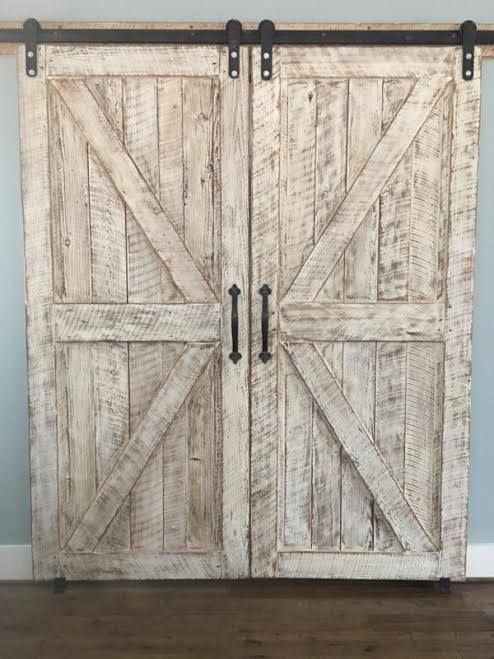 Stunning Matching Barn Doors With White Wash Authentic