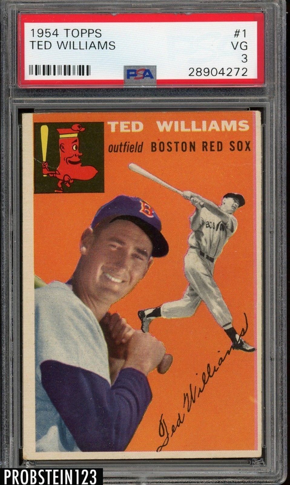 1954 topps 1 ted williams red sox hof psa 3 vg
