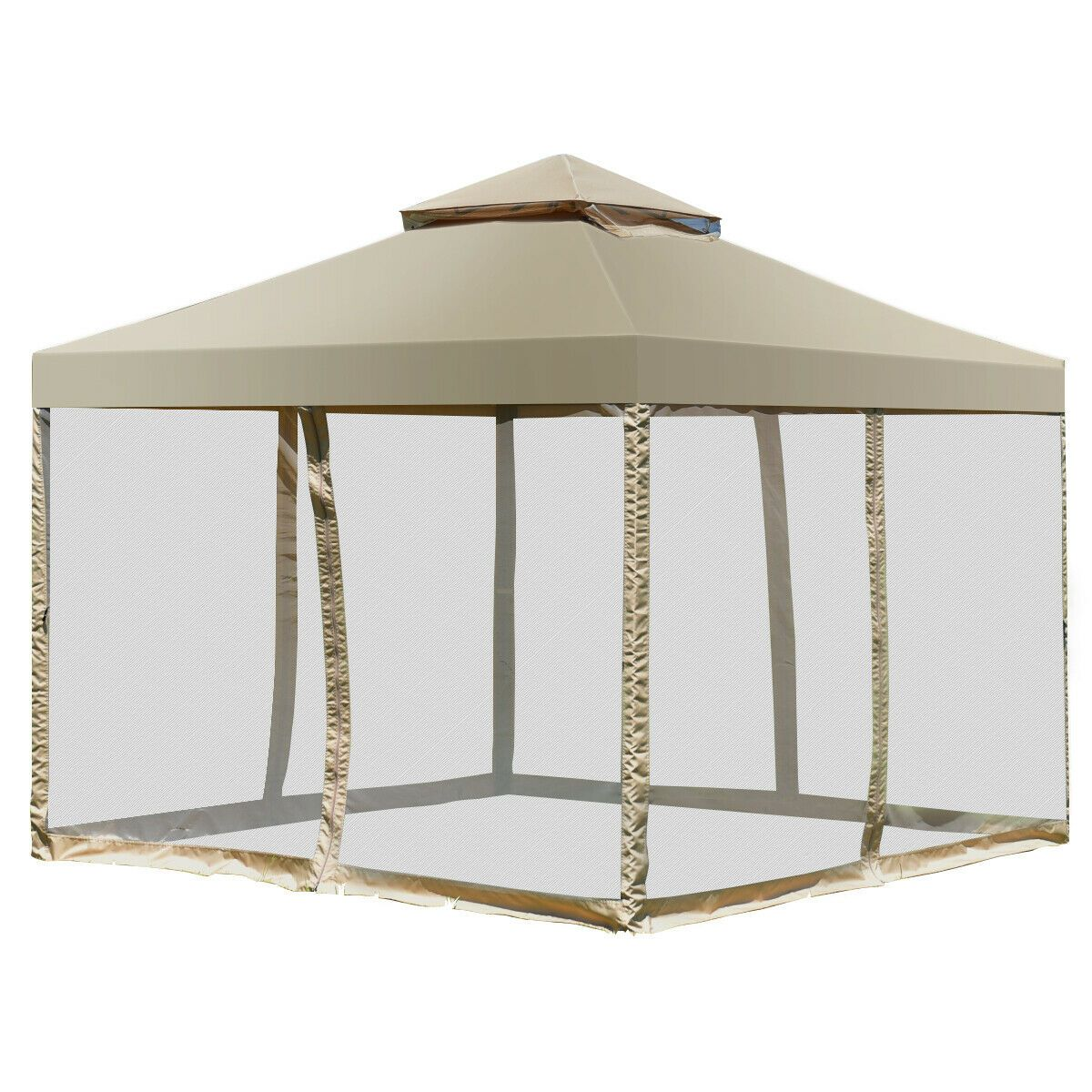 Costway Outdoor 2 Tier 10 X10 Gazebo Canopy Shelter Awning Tent Patio Garden Screw Free Structure Brown Walmart Com In 2020 Steel Gazebo Gazebo Canopy Awning Gazebo