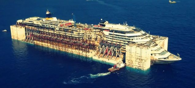 Drone Films The Eerie Costa Concordia Sailing On Its Last Voyage
