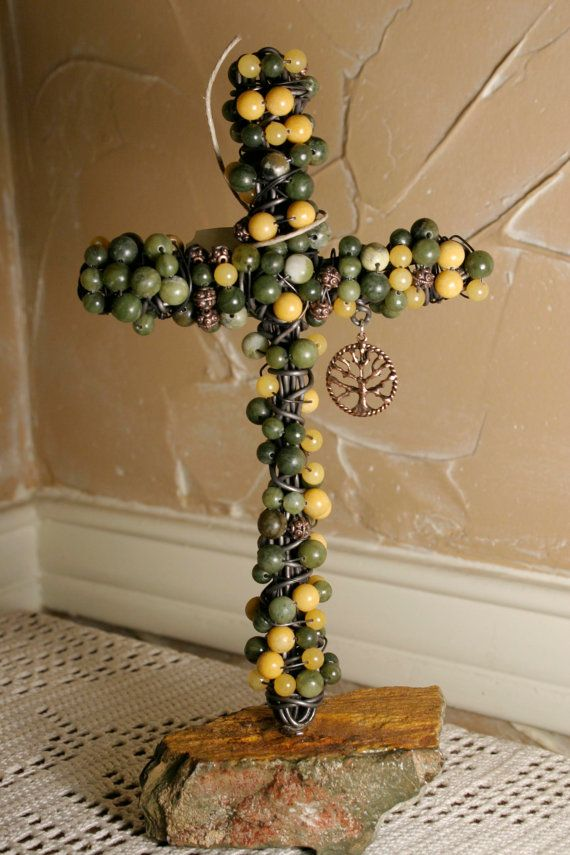 Wire Wrapped beaded cross.  Yellow Jade and by crossesintherocks, $60.00