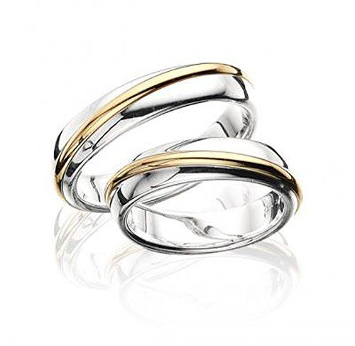 Stylish 14k White And Yellow Gold His And Hers Matching Wedding Rings 5 Mm Couple Wedding Rings Matching Wedding Bands Matching Wedding Rings