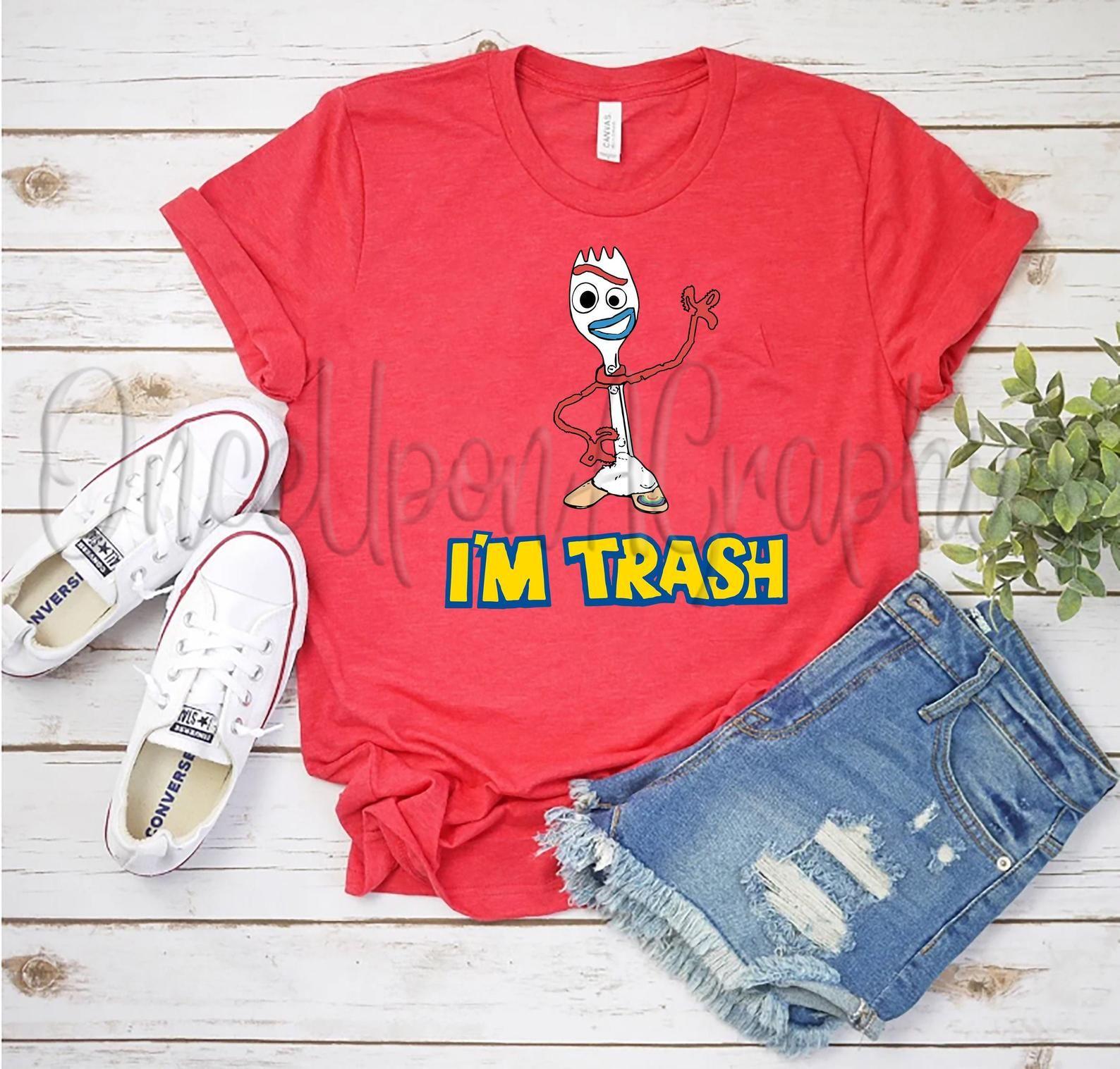 Disney Forky I M Trash Toy Story 4 Pixar Spork Etsy Custom Disney Shirts Disney Shirts For Family Toy Story