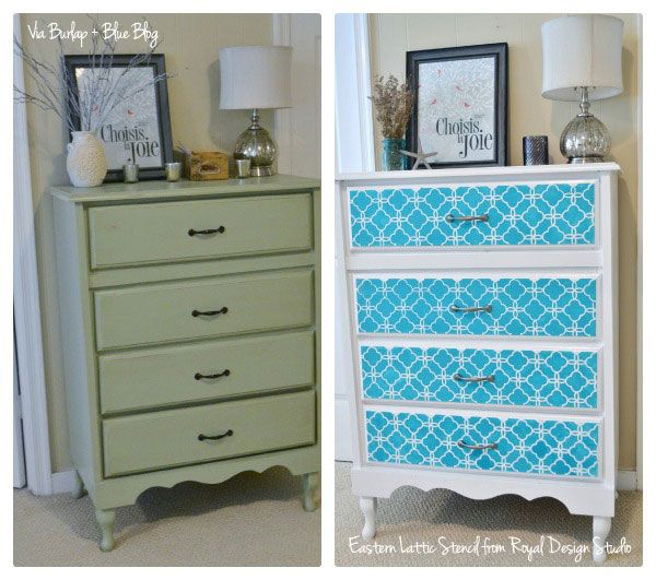 Great Furniture Stencil Makeover With The Eastern Lattice Moroccan On Dresser Drawers From Burlap