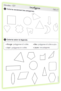 Géométrie CE1 - Les polygones : MAJ | Géométrie ce2, Évaluation géométrie ce2