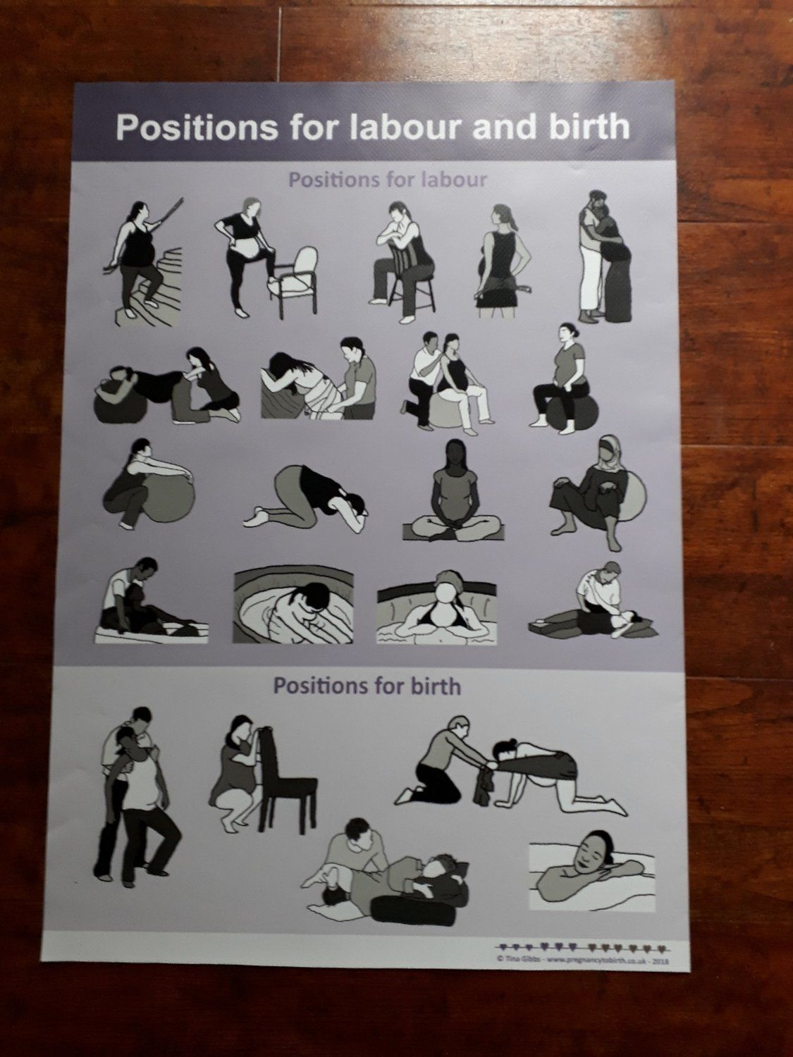 Childbirth Education Posters Positions Labour & Birth