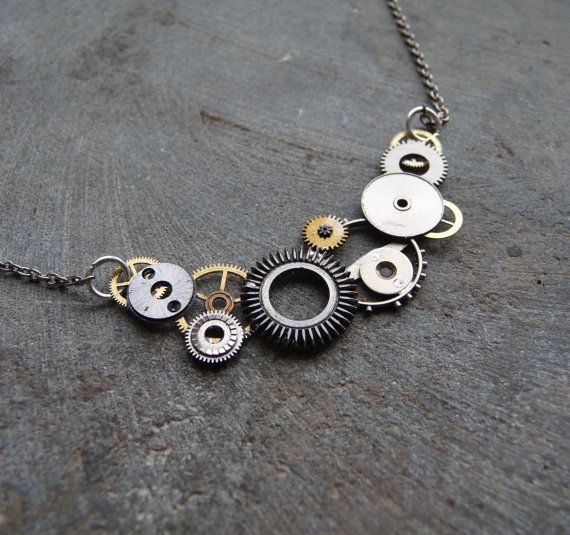 Watch Gear Necklace Undulate Elegant Recycled by amechanicalmind, $45.00