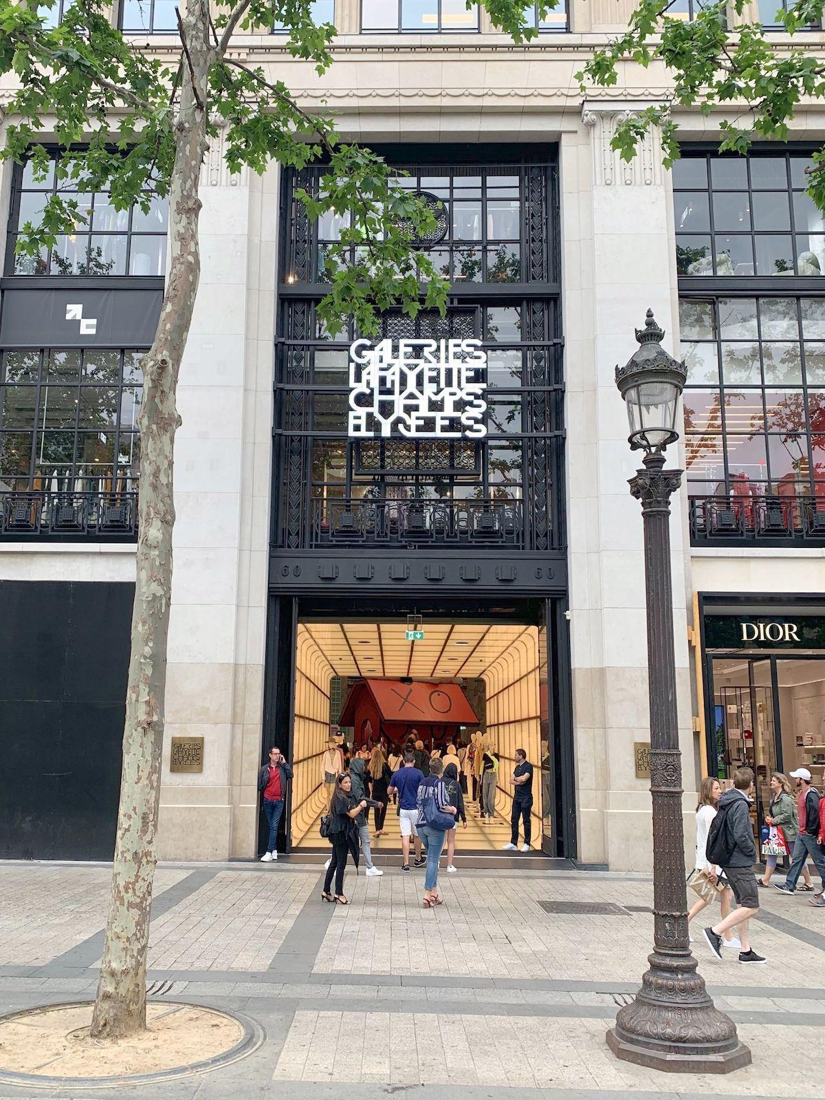 The Newly Opened Galeries Lafayette Champs Elysees In Paris Paris Plaque De Rue Caserne Pompier