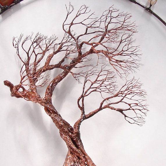 Metal Tree wall art wire Tree Of Life Sculpture by CrowsFeathers  sc 1 st  Pinterest & Metal Tree wall art wire Tree Of Life Sculpture Circle of Life ...