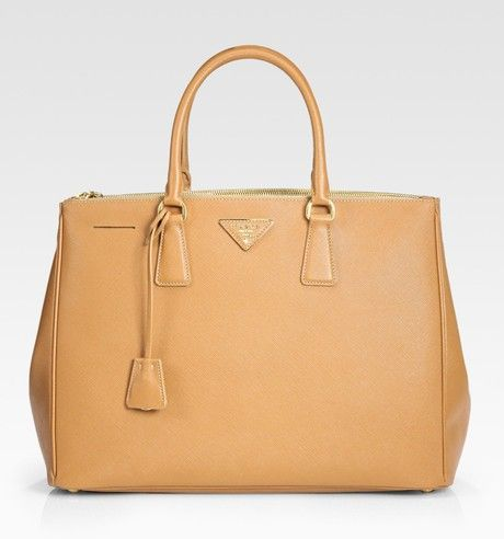 f9a9b08d881c Prada - Brown Saffiano Lux Large Double-zip Tote - Lyst