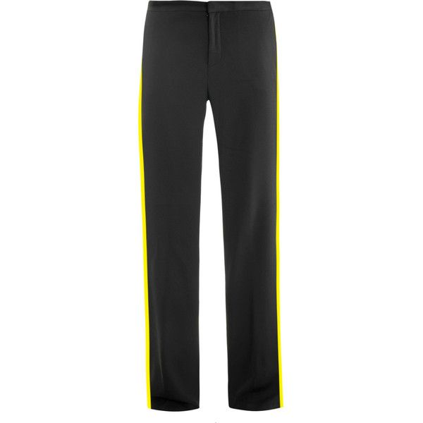 MSGM black crepe trousers with yellow tuxedo stripes.