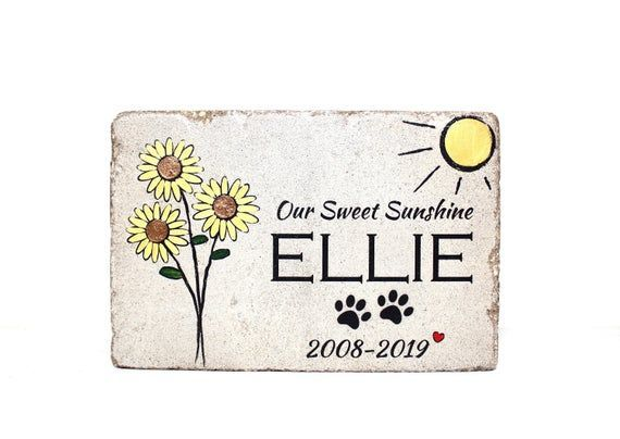 6x9 Sunflower Pet Memorial Stone. 6x9 CUSTOM Burial Marker. Tumbled Concrete Sto... - Products #6x9 #Burial #Concrete #Custom #Marker #Memorial #Pet #Products #sto #Stone #Sunflower #Tumbled #PetMemorials #Pet #Memorials