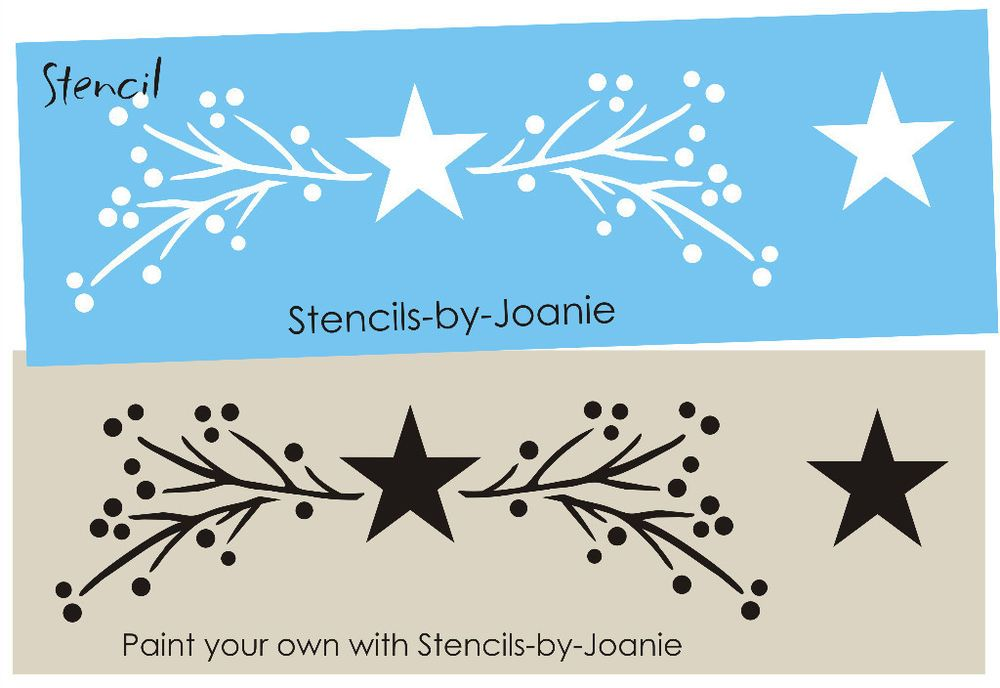 Country Primitive Stencil Twig Branches Pip Berries Star Border Wall Art sign