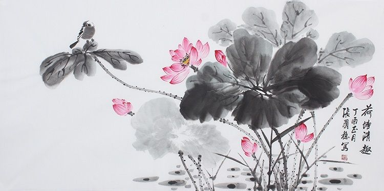 6cec8e207 Modern art famous painting Chinese brush Freehand work Lotus Flower Painting  - US $609.00
