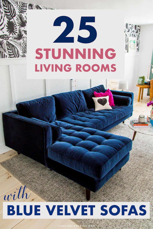 25 Beautiful Living Rooms Blue Velvet Sofas