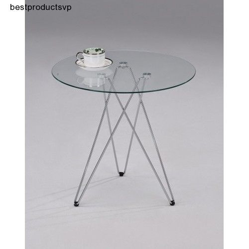 Details About Round Glass Accent Table Living Room End Modern Side Chrome  Metal Contemporary Part 64
