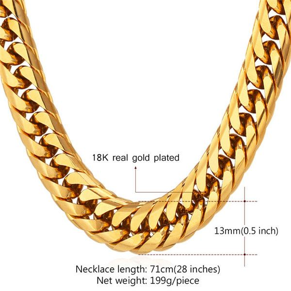 Gold Chain For Men 13mm Chunky Franco Curb Chain Necklace Bracelet 18 Gold Chains For Men Chains For Men Mens Chain Necklace