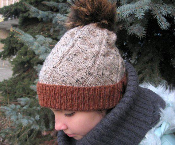 54870319c22 Beige Cable Knit Women s Hat Fur Pom Pom Cables Knit Beanie ...