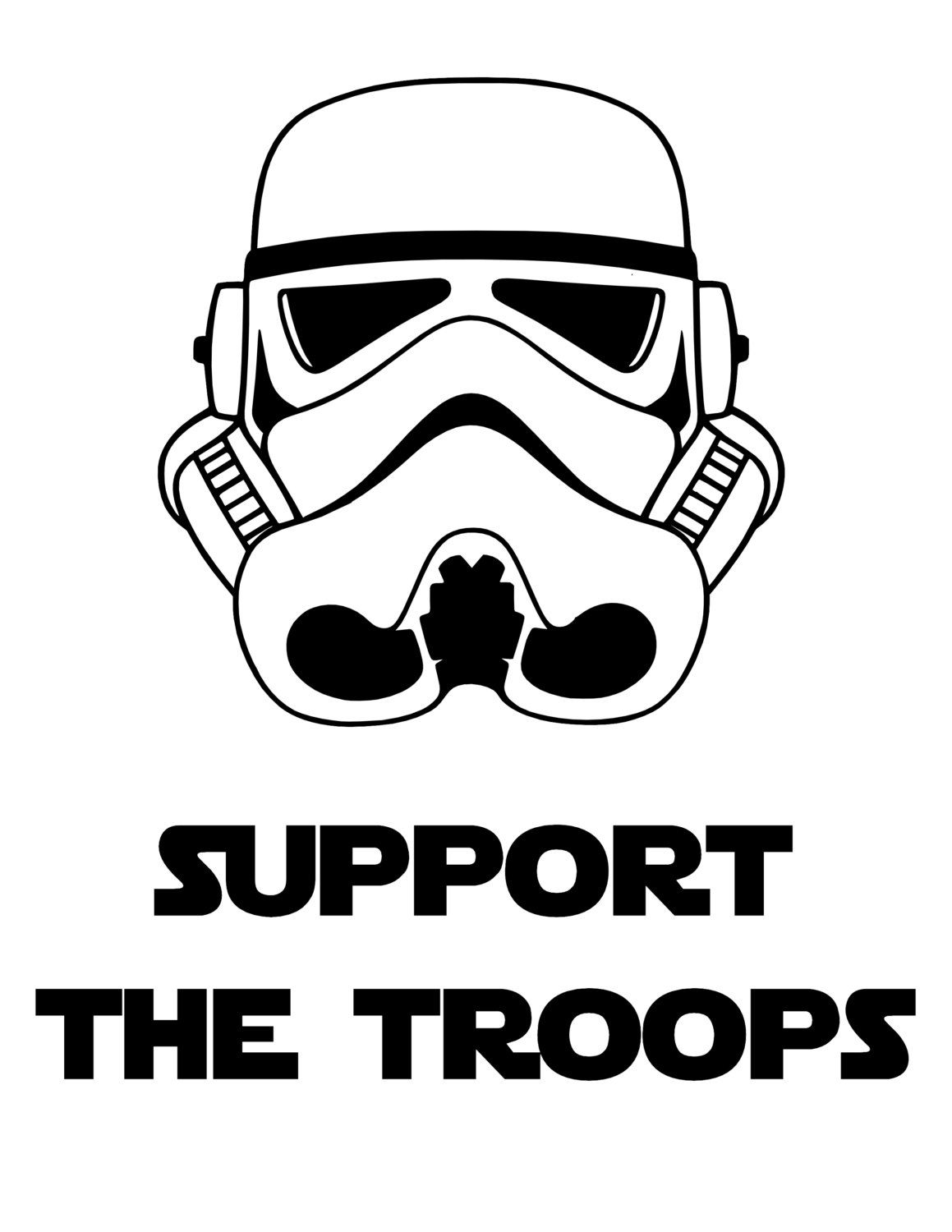 Support The Troops Storm Troopers Star Wars Printable Iron On T Shirt Transfer Digital Download