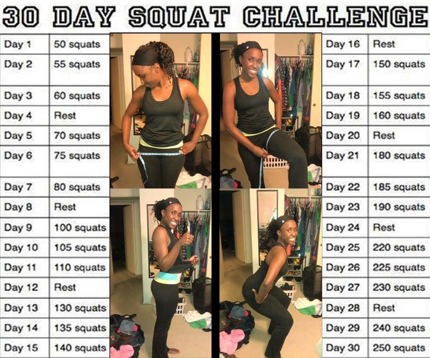 30 Day Squat Challenge    Dont forget to measure your hips