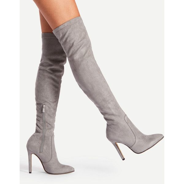 9cc5587a20 SheIn(sheinside) Pointed Toe Over Knee Heeled Boots (73 BAM) ❤ liked