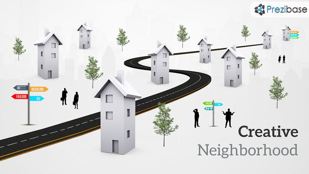 D Street Houses Road City Town Prezi Presentation Template