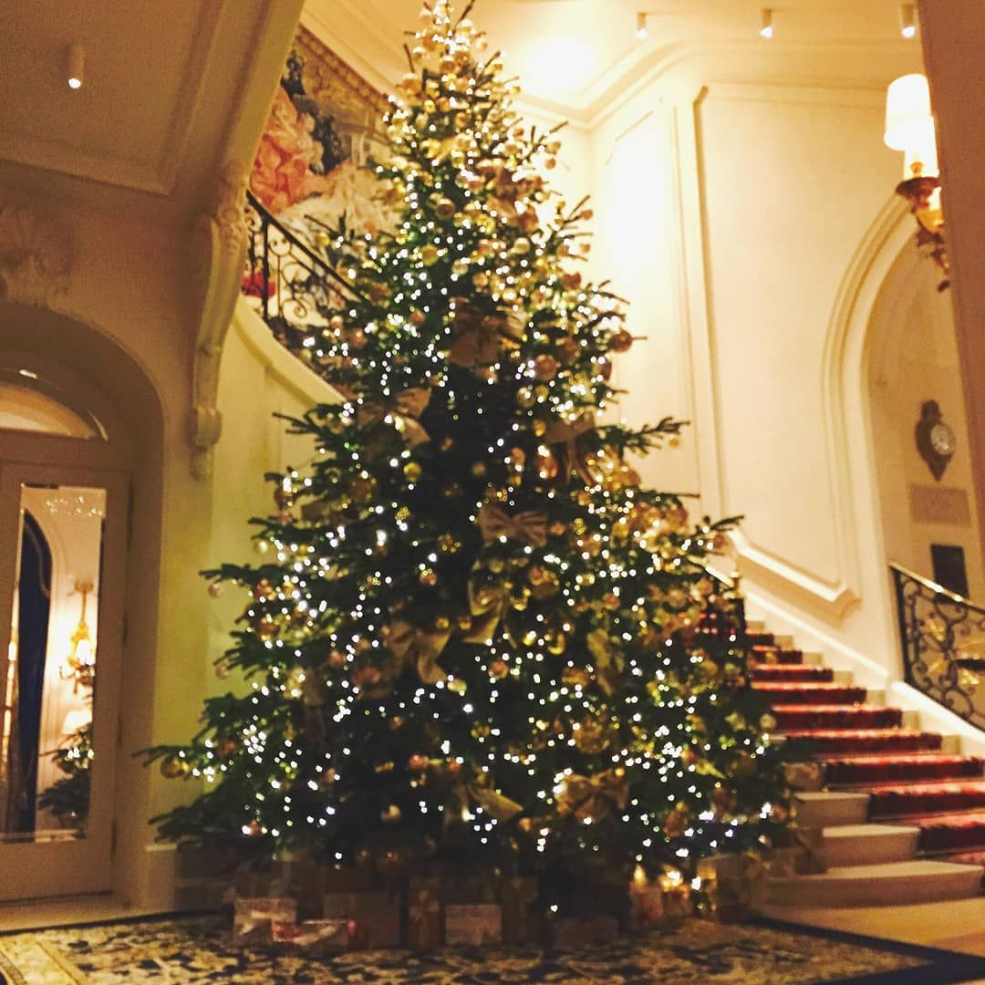Christmas At The Ritz... The Tree In Front Of The Stairway