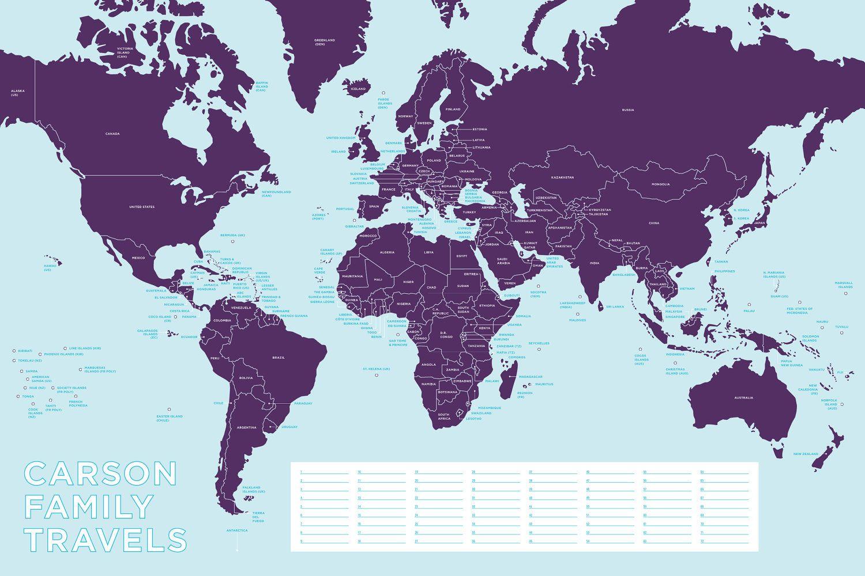 Personalized world travel map 17500 via etsy maps pinterest personalized world travel map 17500 via etsy gumiabroncs Images