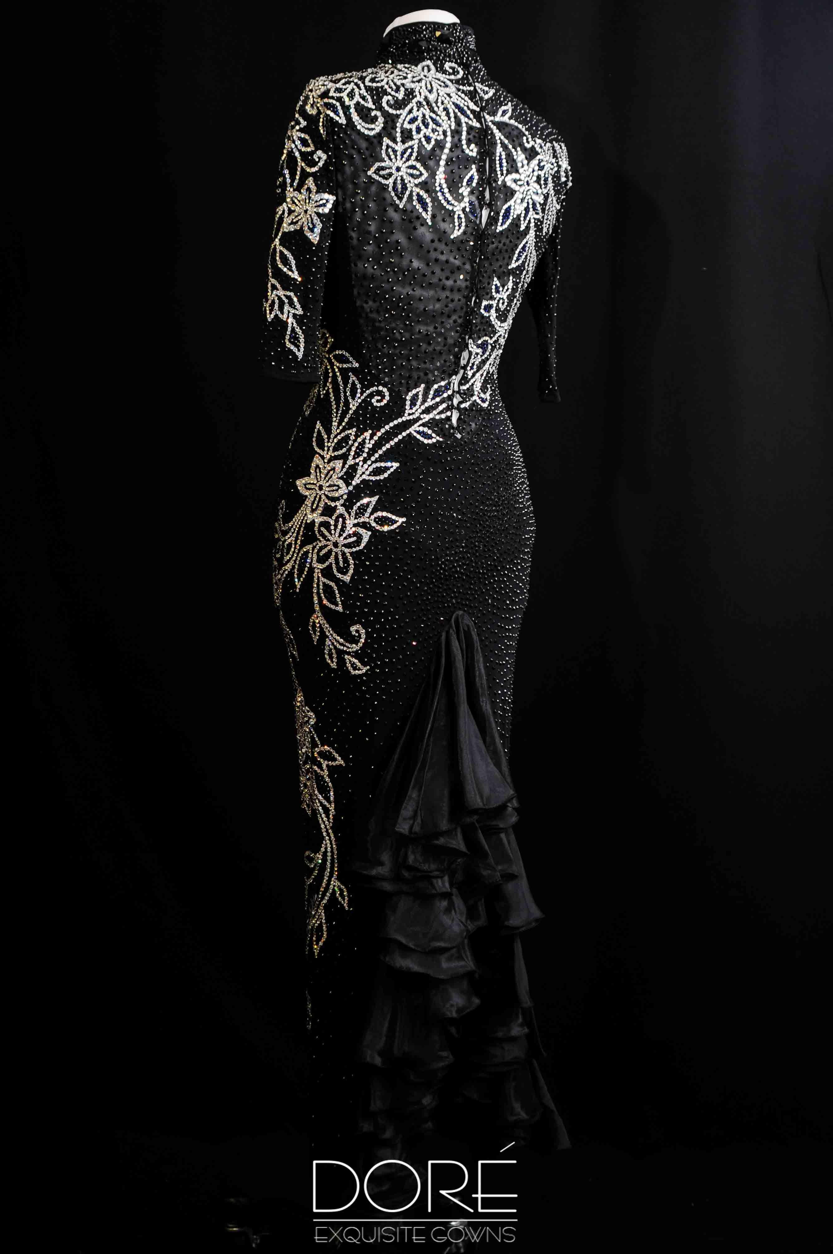 Doré designs hand painted black long sleeve latin wjet sew on