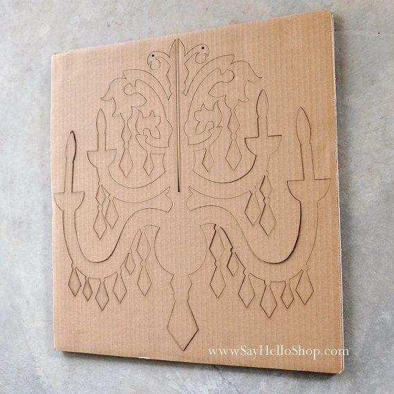 Large diy cardboard chandelier cartn manualidades con carton y diy cardboard chandelier by sayhelloshop on etsy 1500 aloadofball Gallery