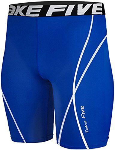 26cb10aacf8b64 New 048 Skin Tights Compression Leggings Base Layer Blue Running Short Pant  Mens (L)