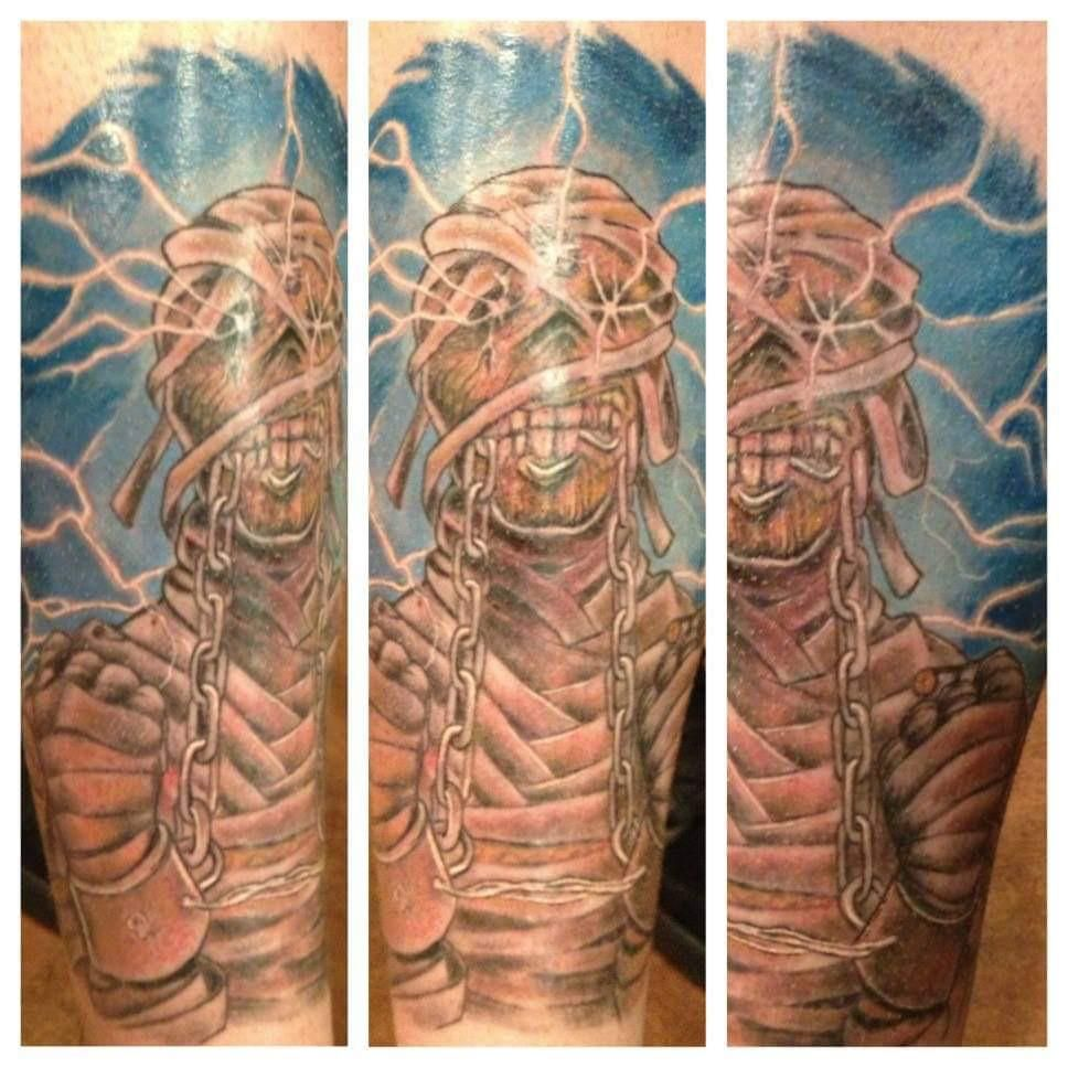 Iron Maiden Powerslave On Shin Done By Jim Lopresti Lucky Soul Tattoo New Haven Ct 2013 Soul Tattoo Iron Maiden Powerslave Tattoos
