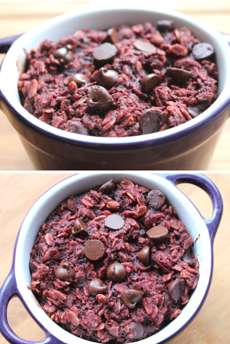 Red Velvet Baked Oatmealnaturally coloured with beets