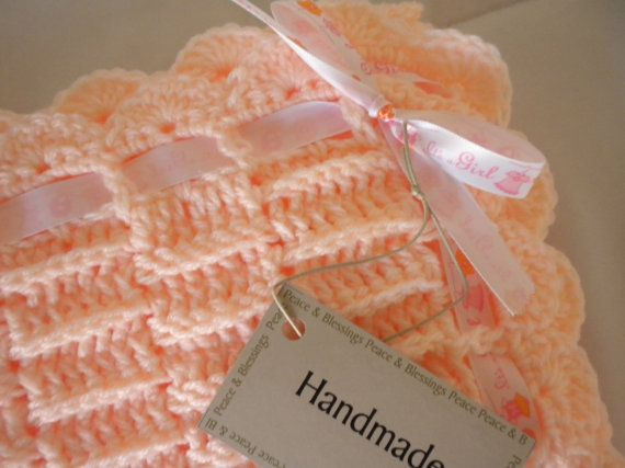Crochet Baby Blanket  Peach Child Stroller by wisdomfromabove, $47.00