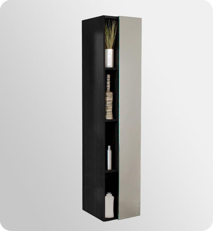 "Fresca FST8070 67"" Freestanding Bathroom Linen Cabinet with Four Narrow Storage Shelves and Mirrored Door"