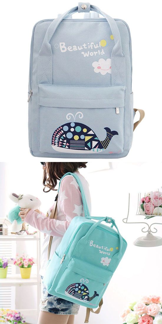 1f6e9f9142bf Beautiful World Cartoon Fresh Canvas Rucksack Whale Flower Printing School  Bag Backpack for big sale !  backpack  cartoon  canvas  Bag
