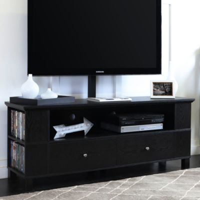 60 Transitional Wood Tv Media Stand Storage Console With Mount Black Black Wood Tv Console Home Entertainment Furniture Tv Stand Console