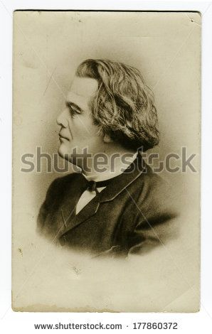 MOSCOW, USSR - CIRCA 1890S: An antique photo shows studio portrait of Anton Rubinstein, Russian composer, pianist, conductor and music teacher. - stock photo