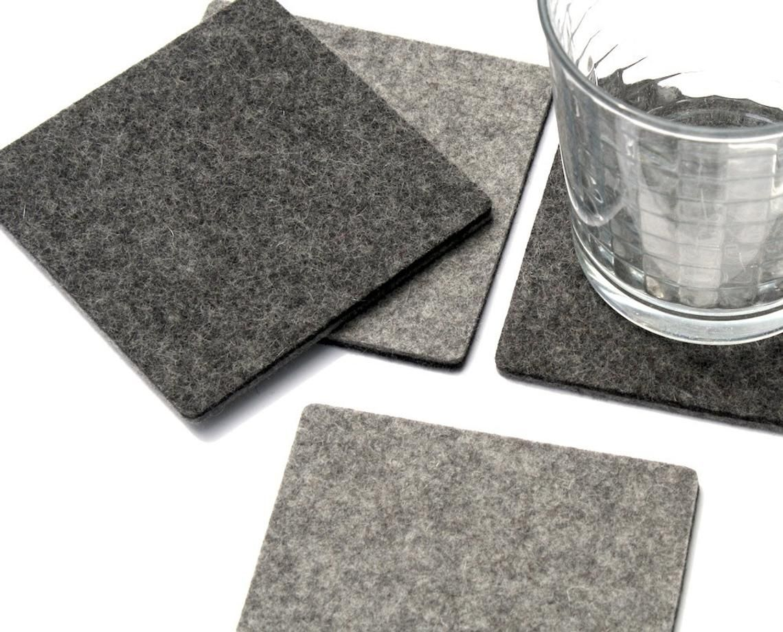 Modern Square Felt Table Coasters For Friends Etsy Wool Felt Coasters Felt Coasters Modern Coasters