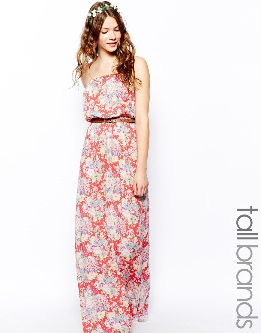 New Look Tall Floral Belted Maxi Dress