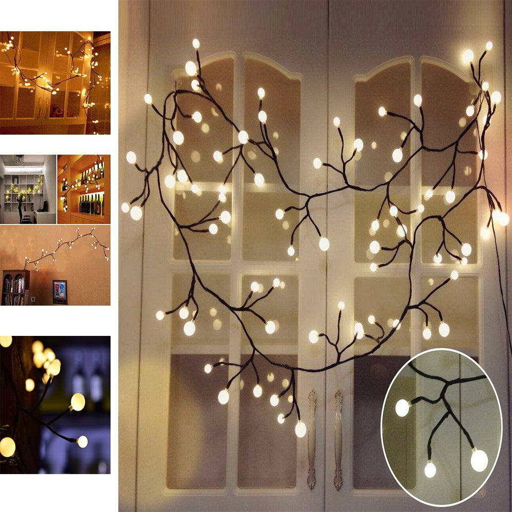 Decorative Fairy Lights Rattan Led String Warm White Waterproof Style Lamp 72 Bulb For Home
