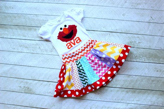 Elmo Birthday outfit girl Rainbow chevron polka dot clothing chevron skirt elmo…