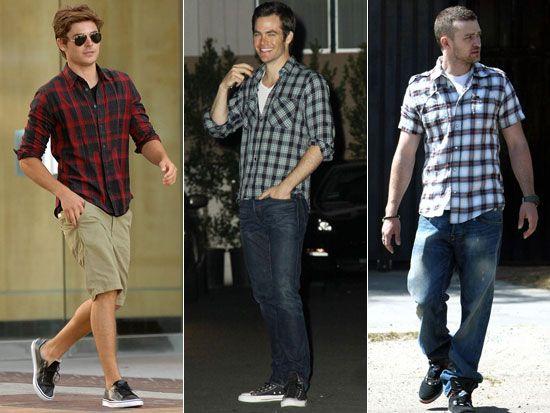 b87484322e Dica de moda para homens  saber usar camisa xadrez e camiseta de gola V  mostra um homem que tem estilo.