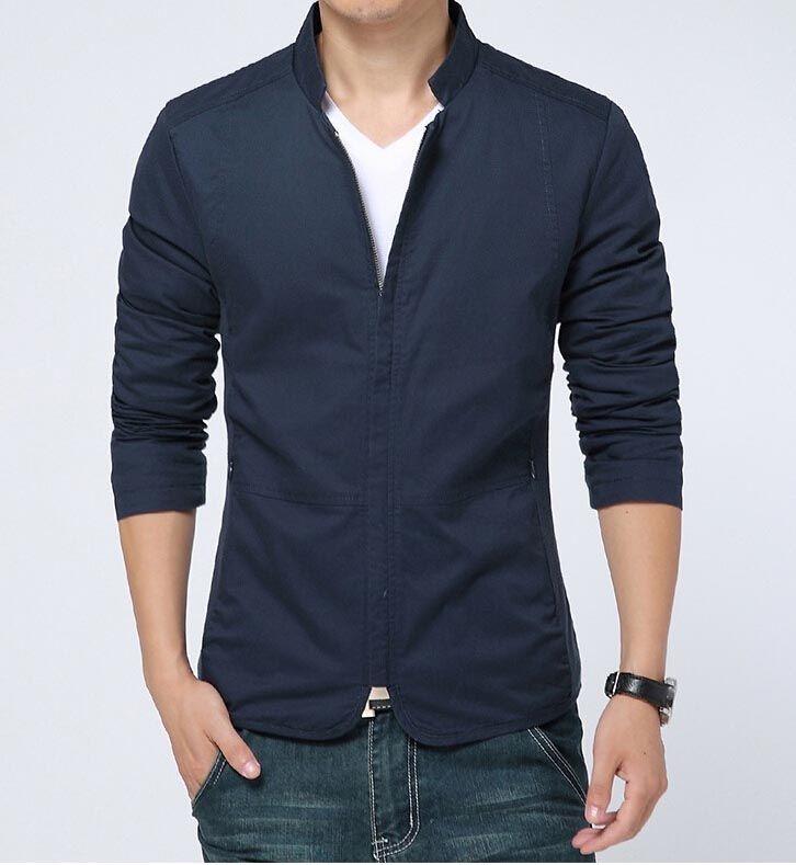 e0bd7ea03 Men s casual  blue long sleeve  jacket zip style simple design ...