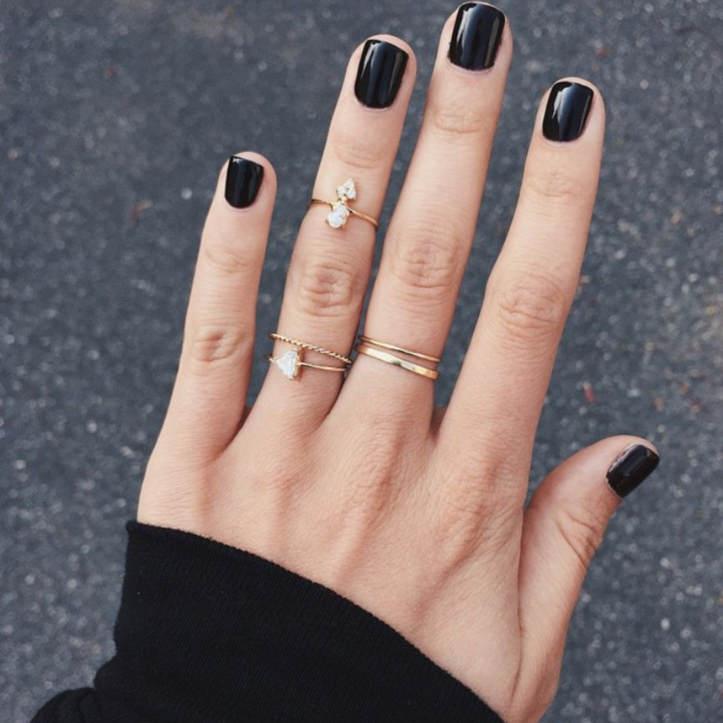 Black Short Nails Dark Nails Black Nails Hair And Nails