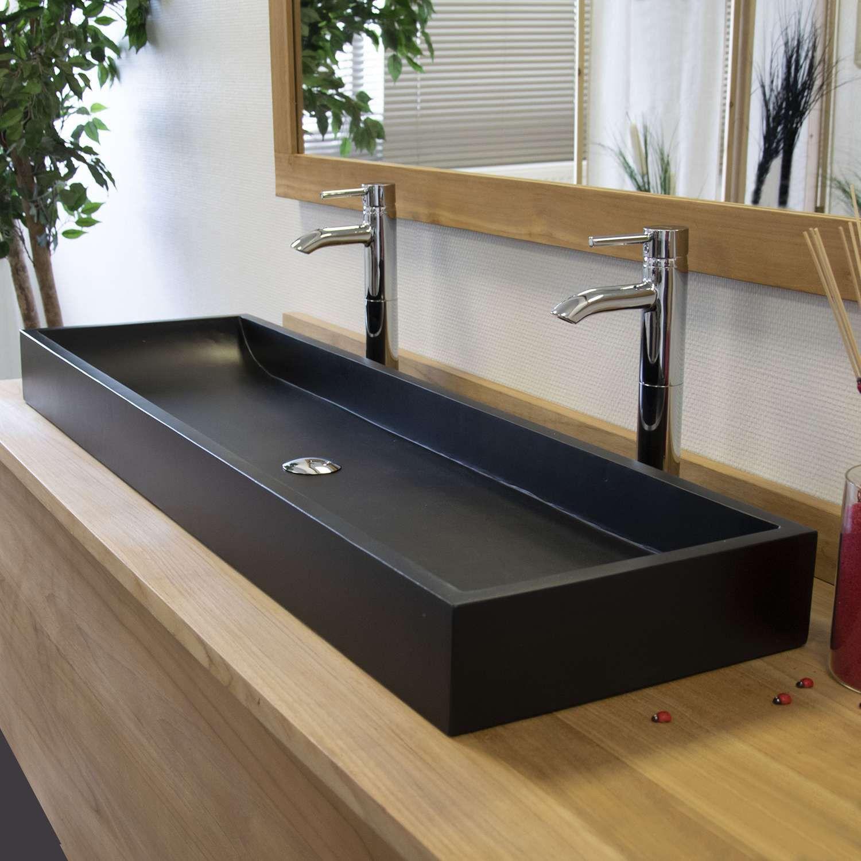 Vasque A Poser Effet Beton Noir Atlantica Amenagement Salle De Bain Meuble Salle De Bain Salle De Bain Design